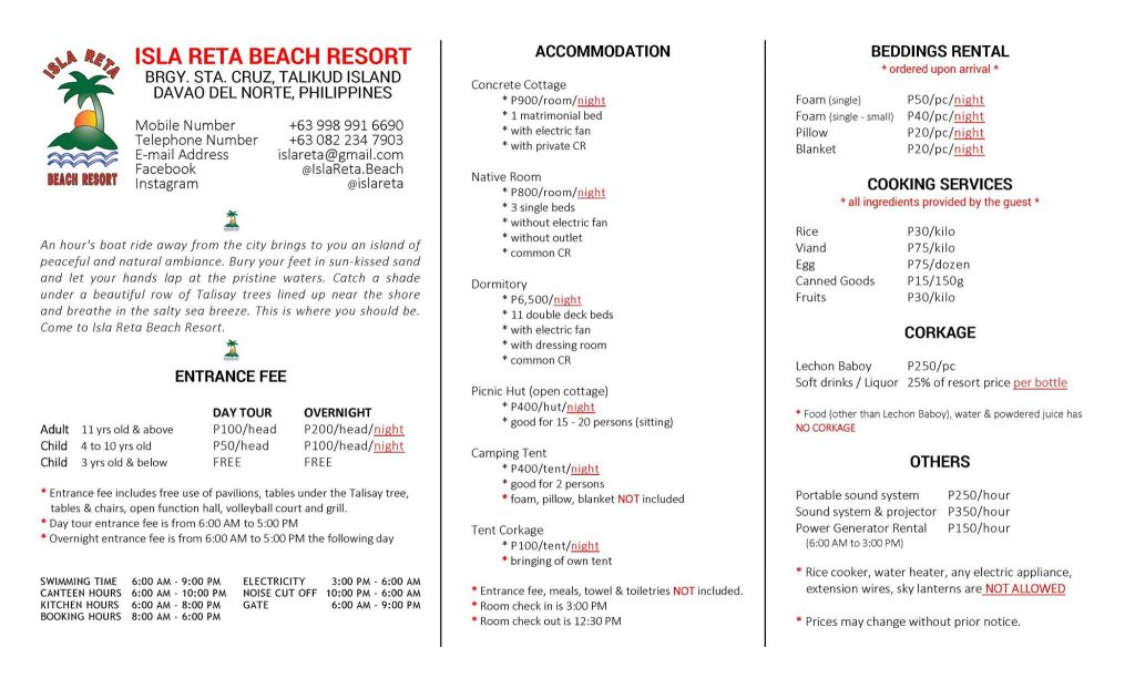 ISLA RETA ROOMS AND SERVICES RATES