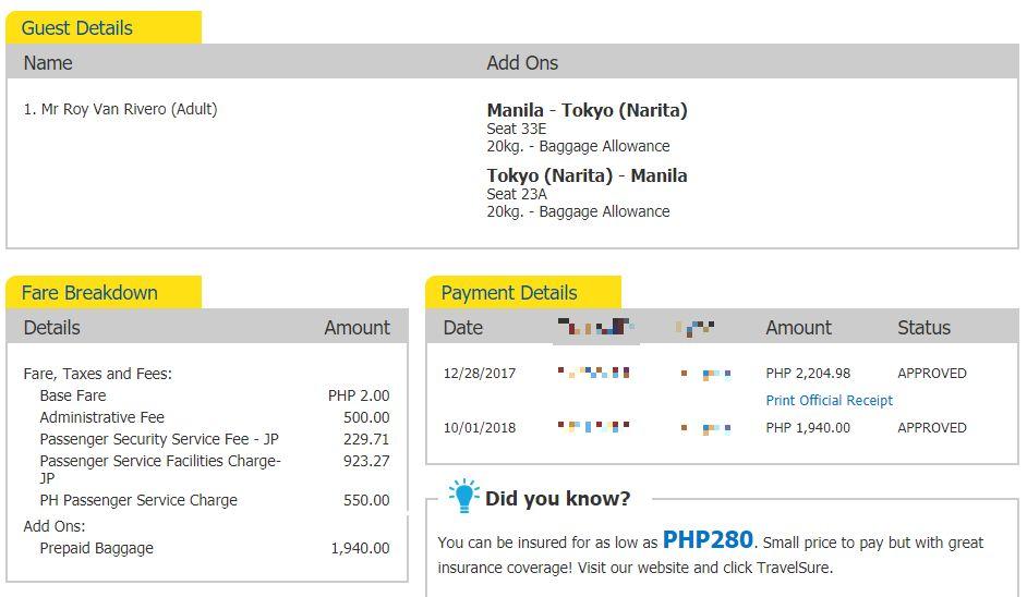 Cebu Pacific Seat Sale - Narita
